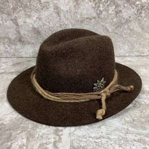 German 100% Wool Panama Hat Königssee Brown Twine